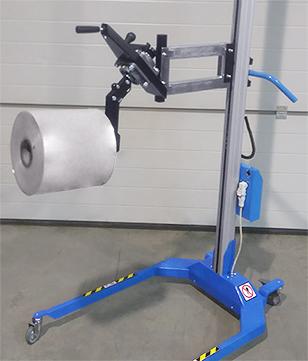 Chariot avec retourneur de bobine manuel