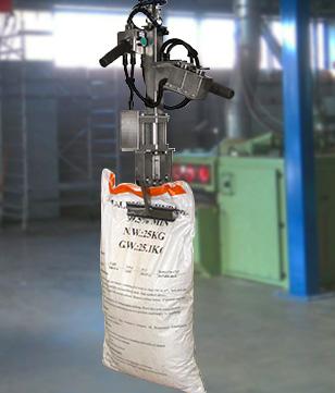 Manipulateur avec pince pneumatique pour sacs