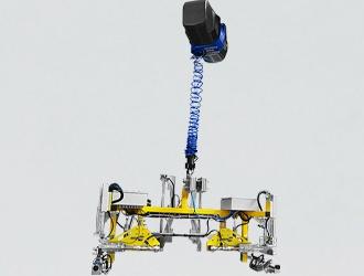 IN-LIFT équipé d'un préhenseur spécifique à serrage pneumatique