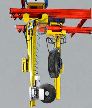 Mât gerbeur IN-LIFT® pour préhenseur de pneus et roues avec poignée sensitive